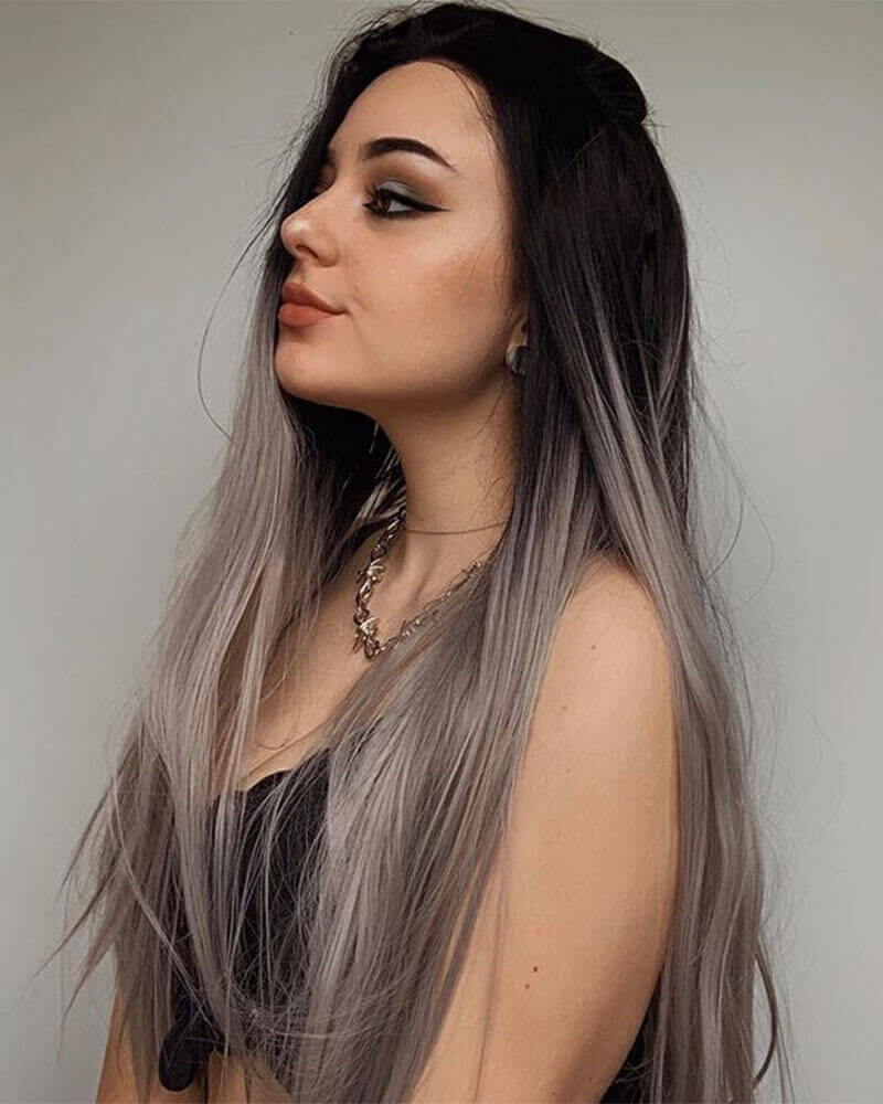 Ombre Silver Long Straight Synthetic Lace Front Wig WT022
