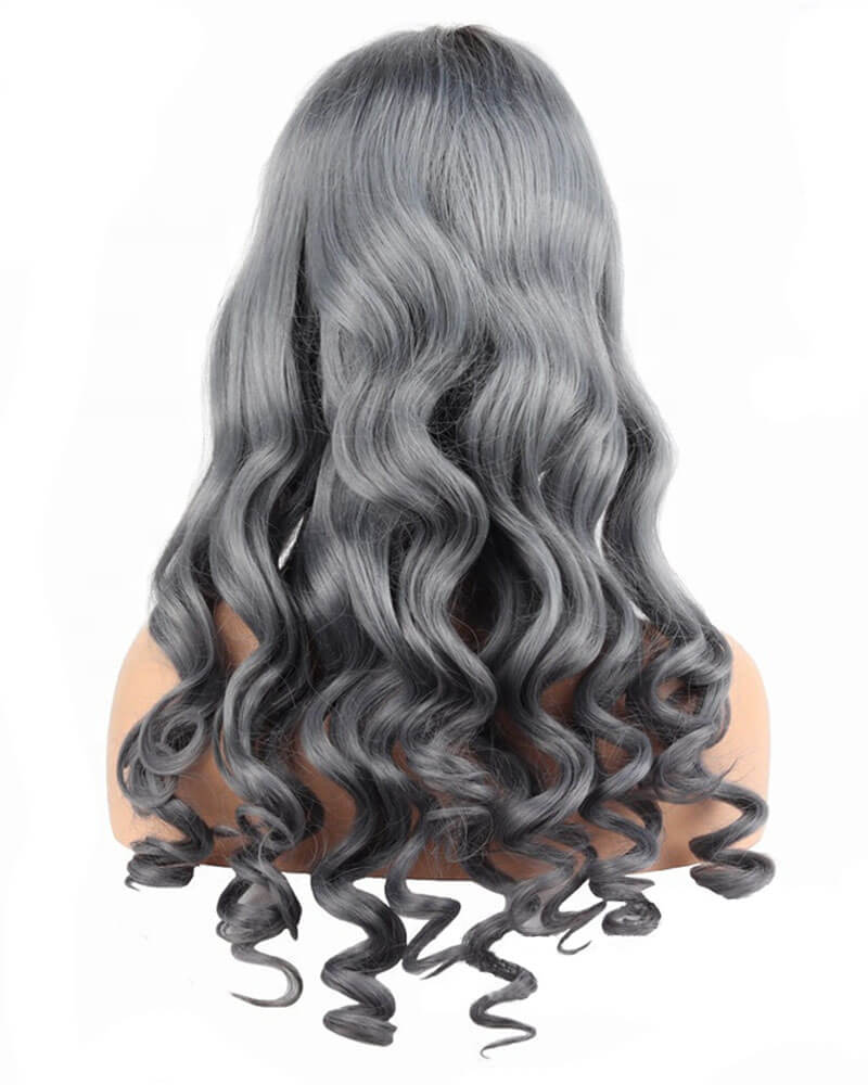Ombre Grey Human Hair Lace Wig HT011