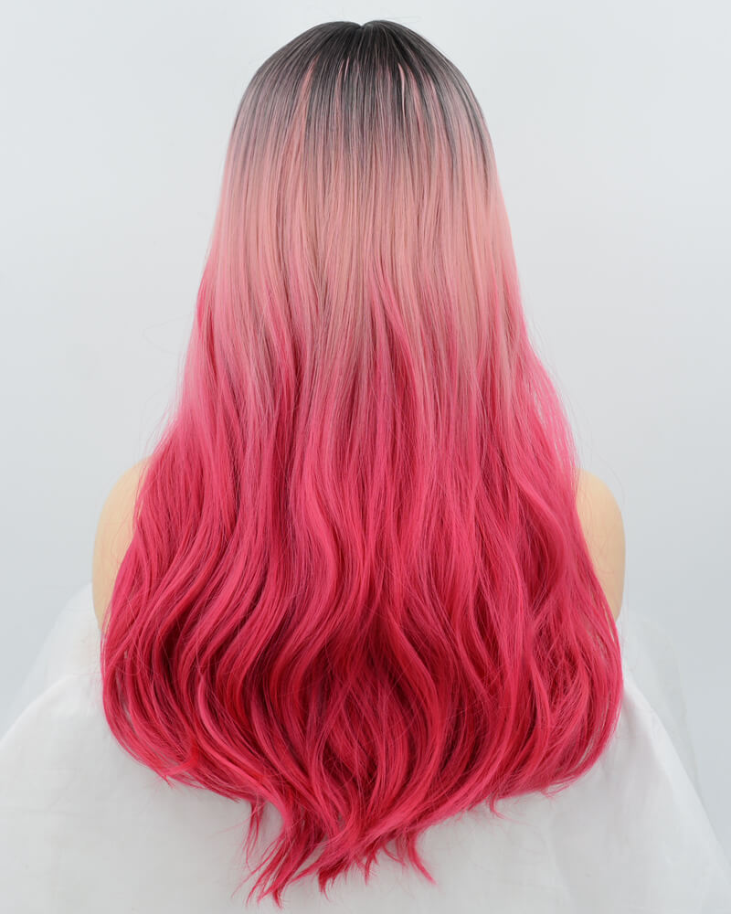 New Ombre Pink Synthetic Lace Front Wig WT100