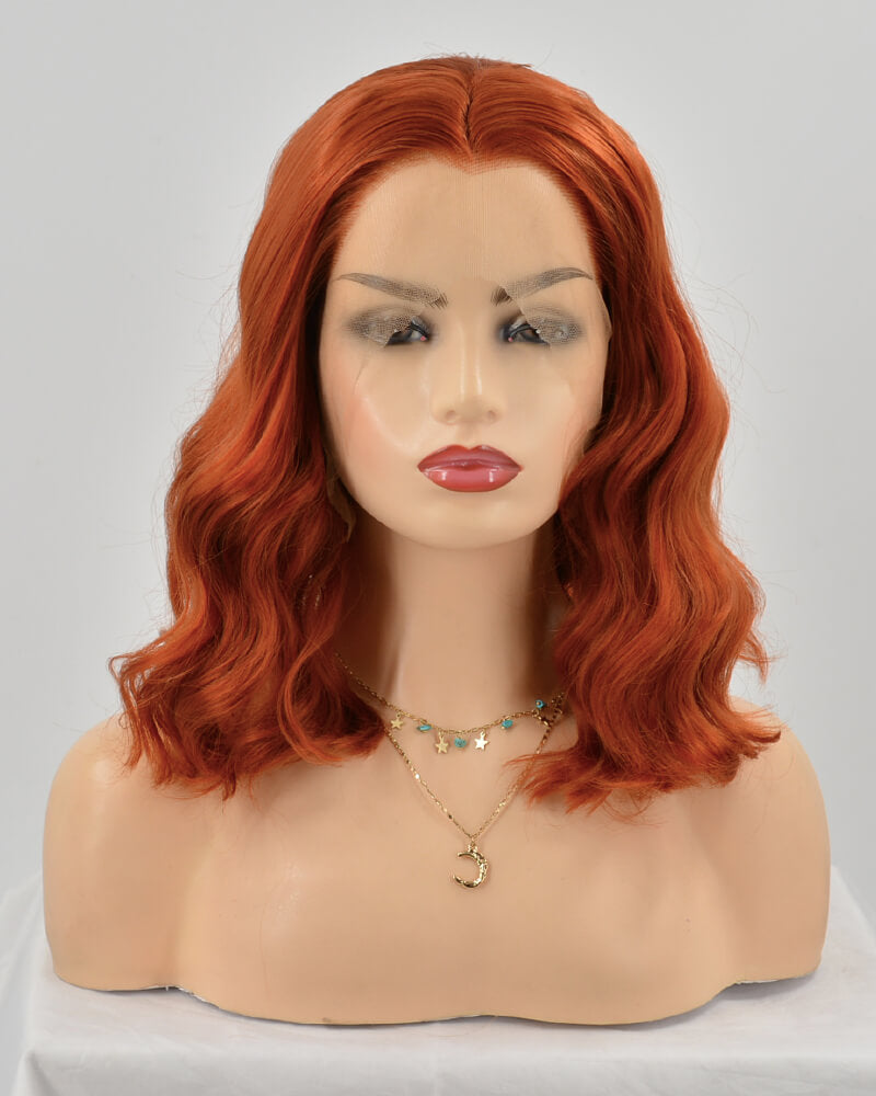 Auburn Red Short Curly Synthetic Lace Front Wig WW133