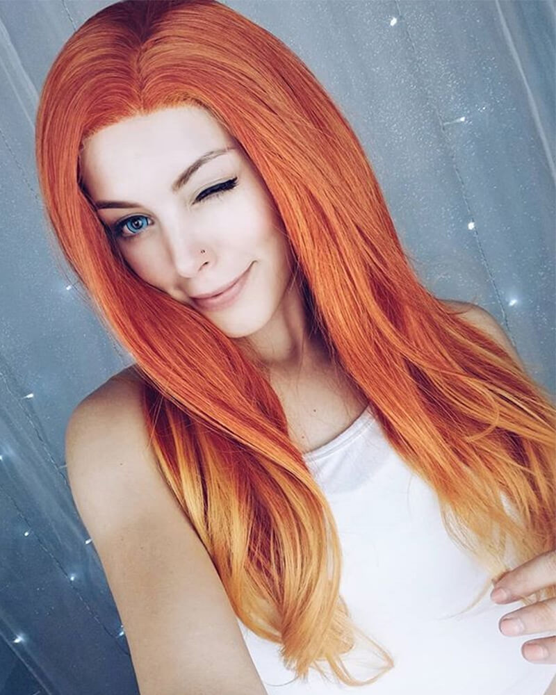 Mixed Orange Ombre Synthetic Lace Front Wig WW012