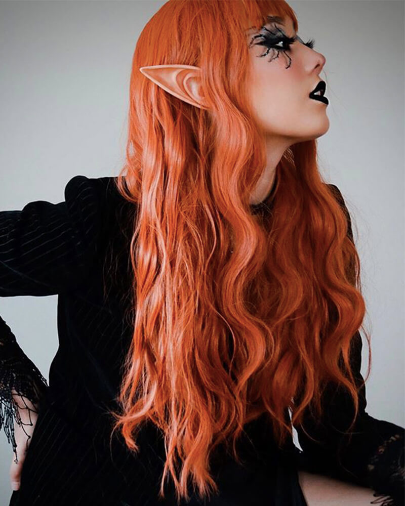 Long Copper Red Synthetic Lace Front Wig WT028