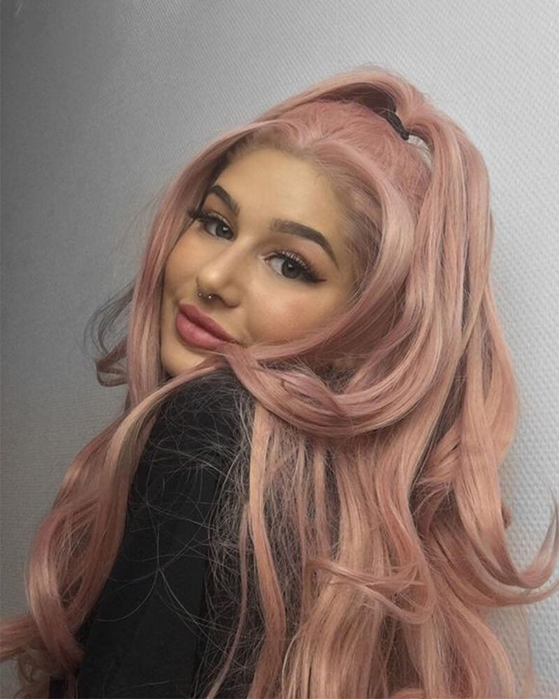 Peach Pink Long Synthetic Lace Front Wigs WT011