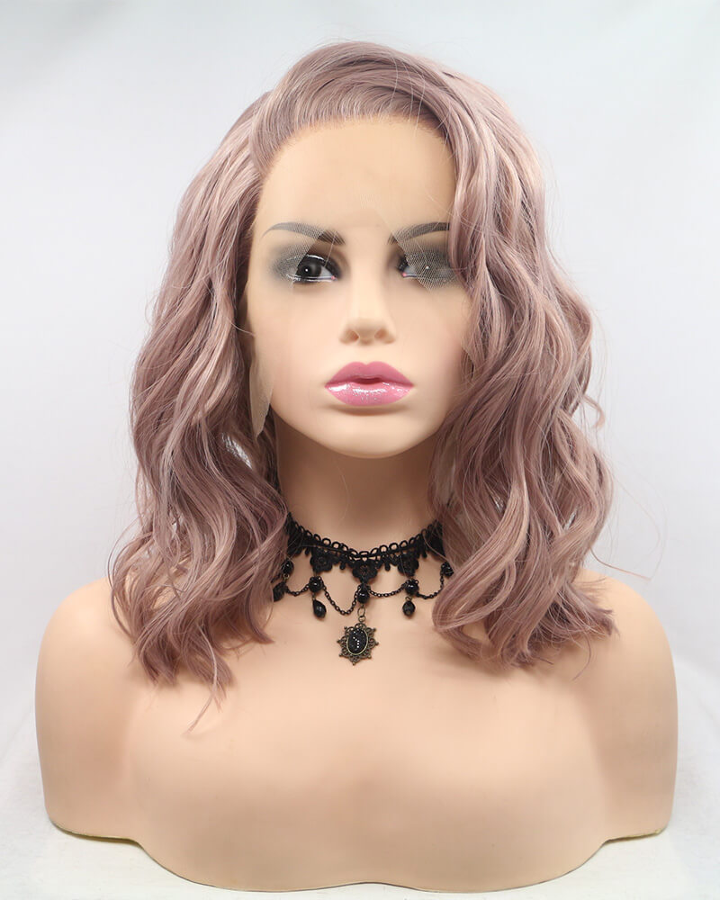 Peach Pink Curly Synthetic Lace Front Wig WT130