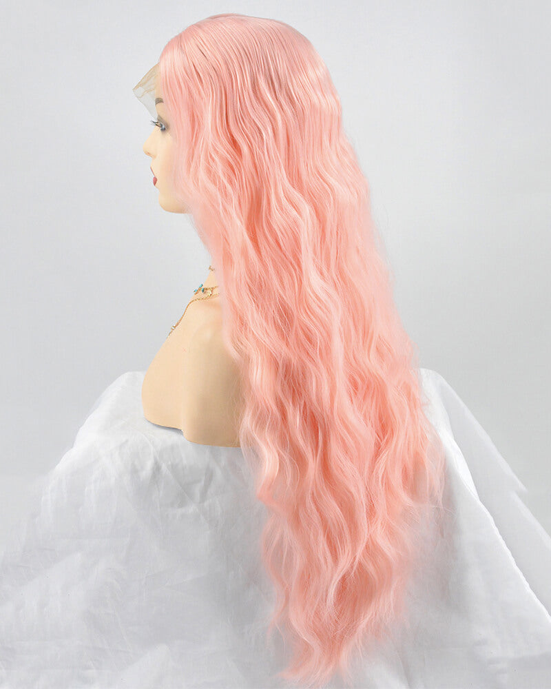 Pink Curly Synthetic Lace Front Wig WW220