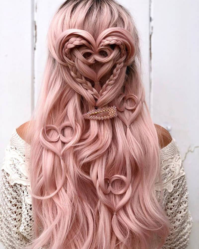 Ombre Long Pink Synthetic Lace Front Wig WT039