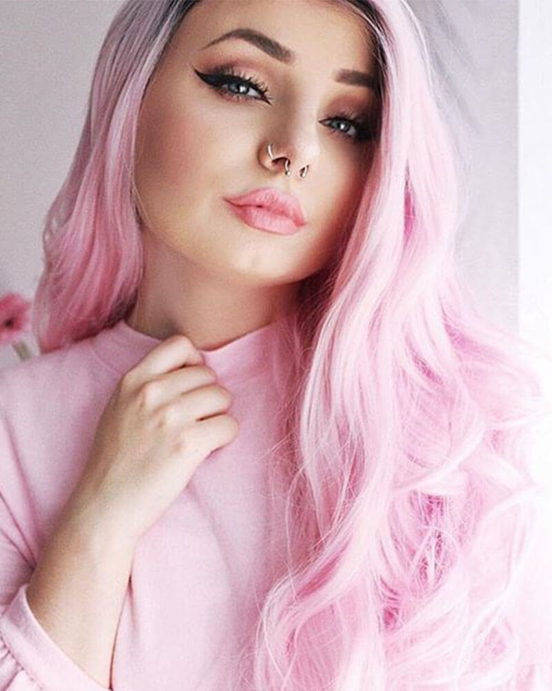 Ombre Pink Wavy Synthetic Lace Front Wigs WT010