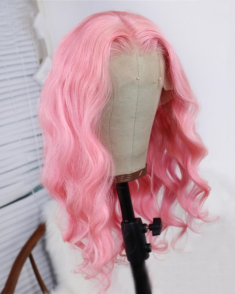 Pink Wavy Virgin Human Hair Wig HT014