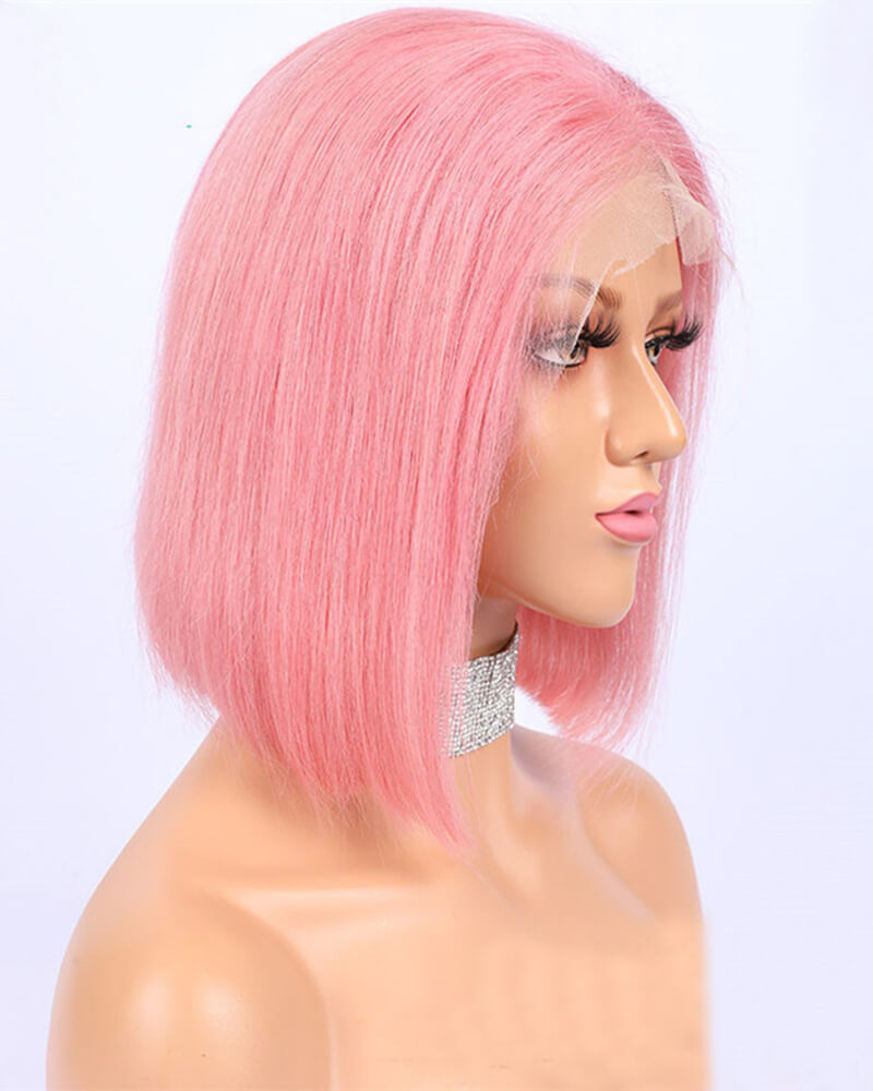 Pink Short Human Hair Wig HT012