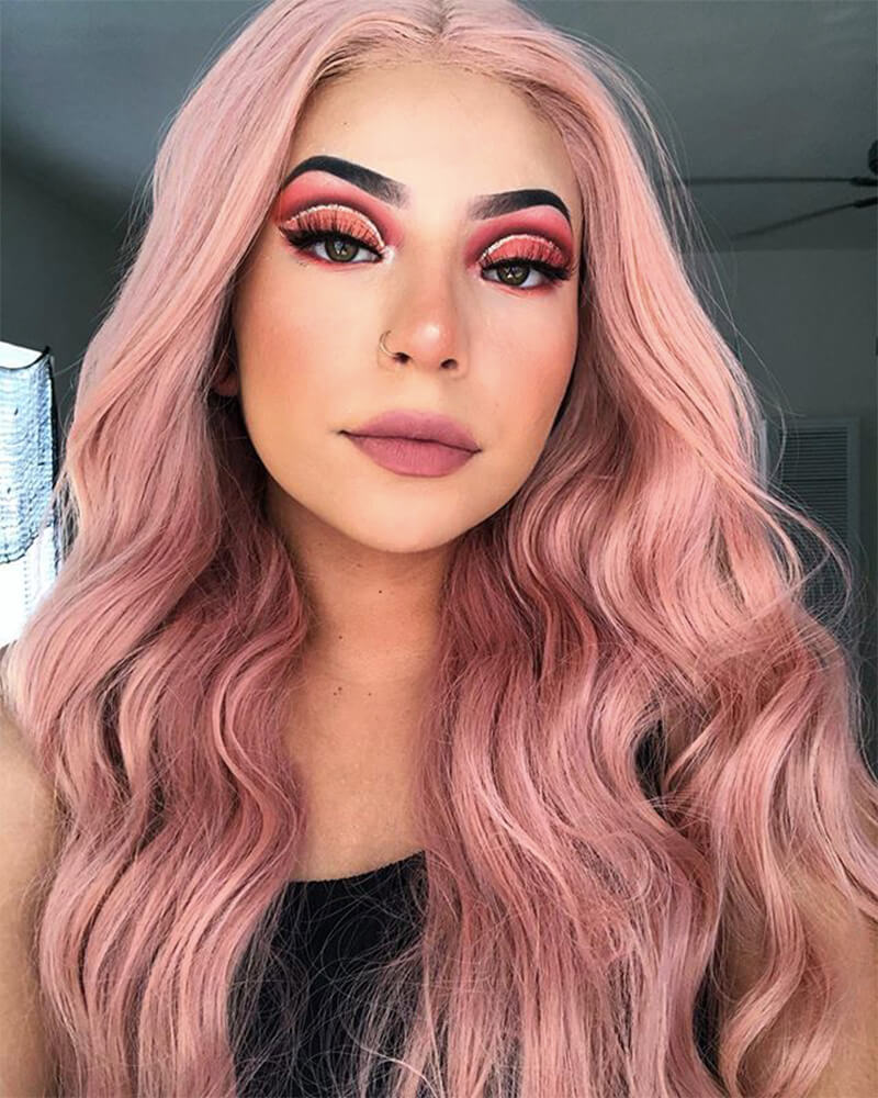 Peach Pink Synthetic lace Front Wig With Baby Hair WW085