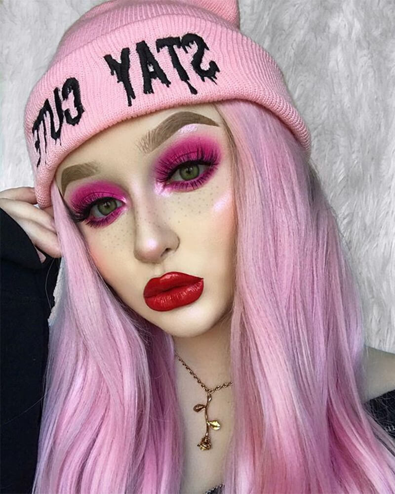 Wavy Ombre Pink Synthetic Lace Front Wigs WT010