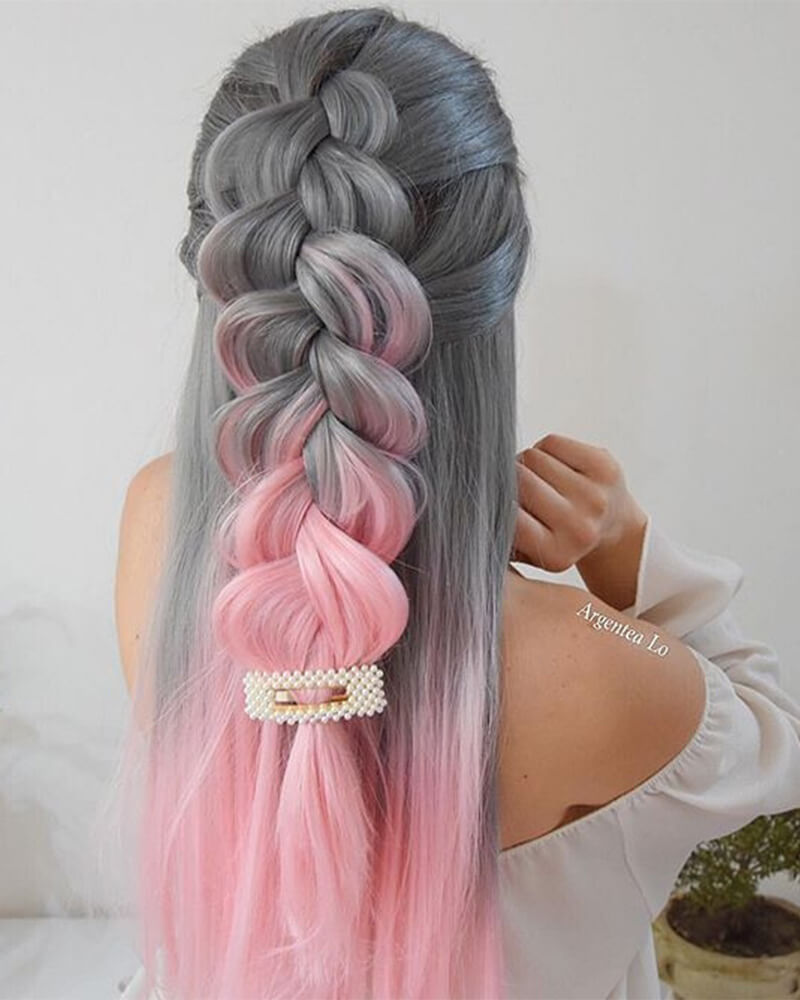 Ombre pink Synthetic Lace Front Wig WT090