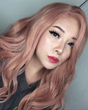 Peach Pink Synthetic Lace Front Wigs WT011