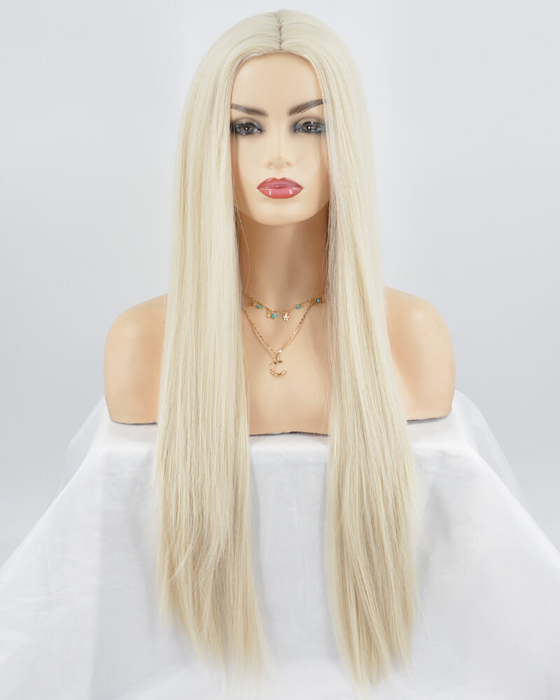 Short Platinum Blonde Synthetic Lace Front Wig WT073