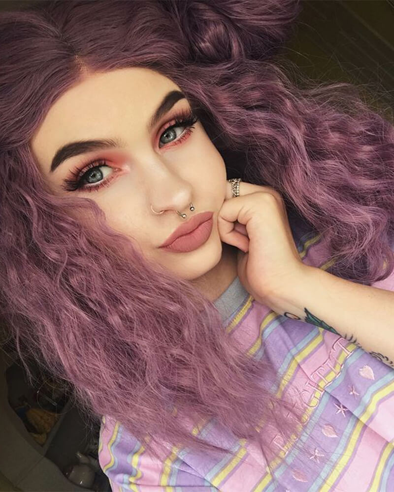 Purple Curly Short Synthetic Lace Front Wigs WT013