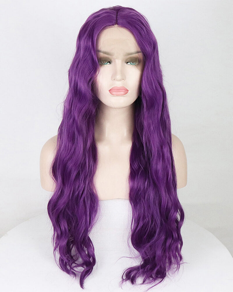 Purple Wavy Synthetic Lace Front Wig WW077