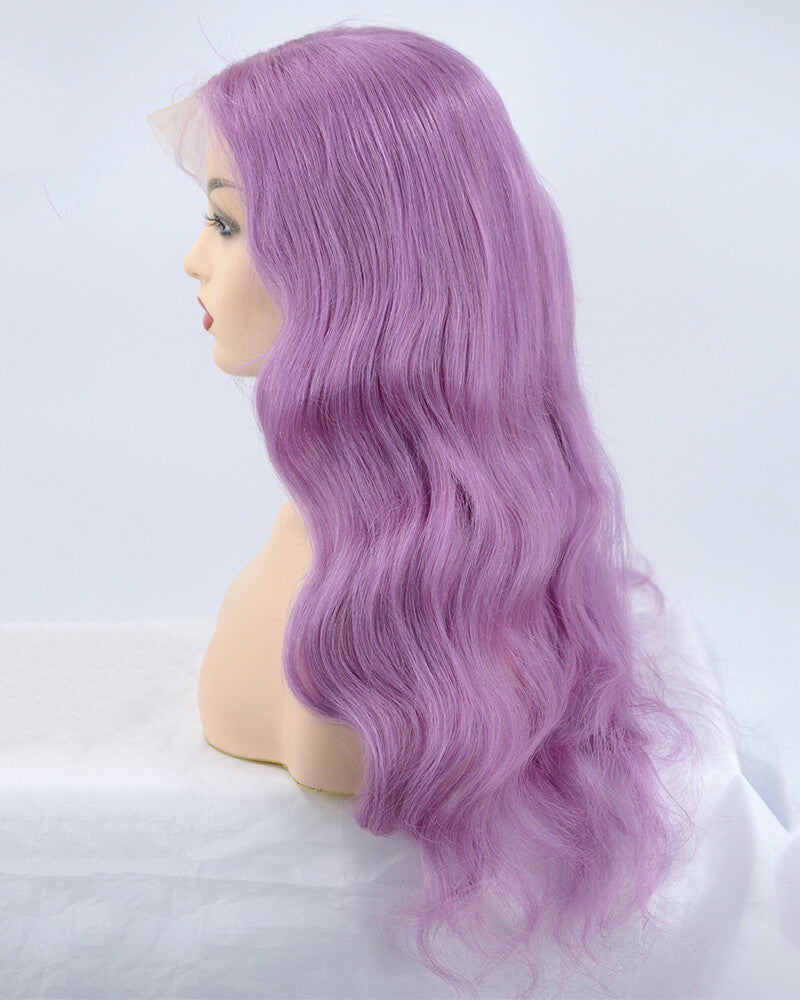 Purple Wavy Virgin Human Hair Wig HT029