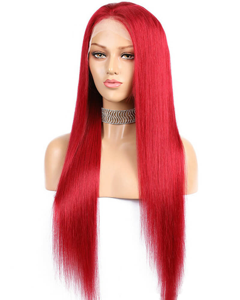 Red Straight Human Hair Wig HT018