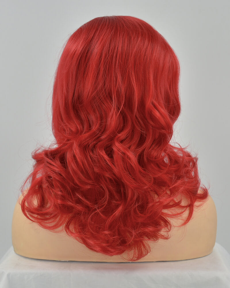 Wine Red Wavy Synthetic Lace Front Wig WW055