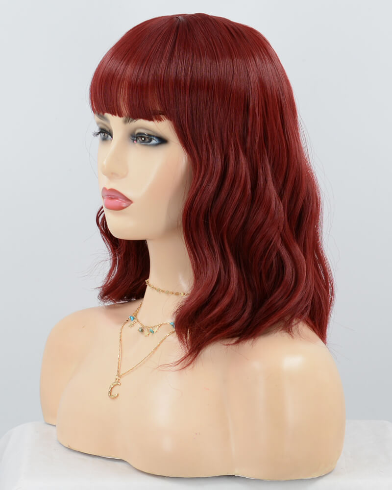 Red Short Synthetic Lace Front Wig With Bangs WW072