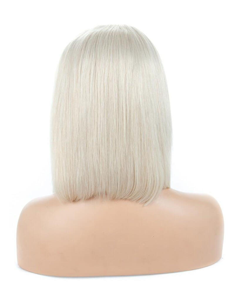 Platinum Blonde Virgin Human Hair Short Lace Front Wig HT002