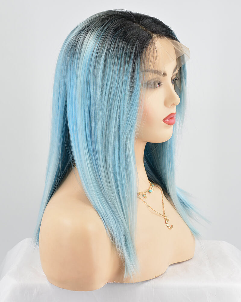 Straight Ombre Blue Synthetic Lace Front Wig WW140