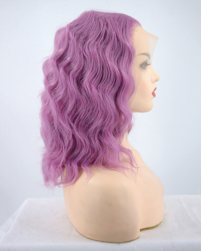 Purple Short Curly Synthetic Lace Front Wig WW184