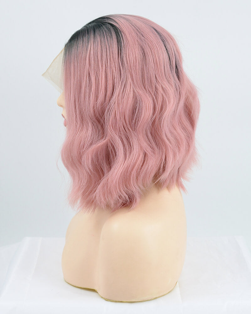 Ombre Rose Pink Short Synthetic Lace Front Wig WW147