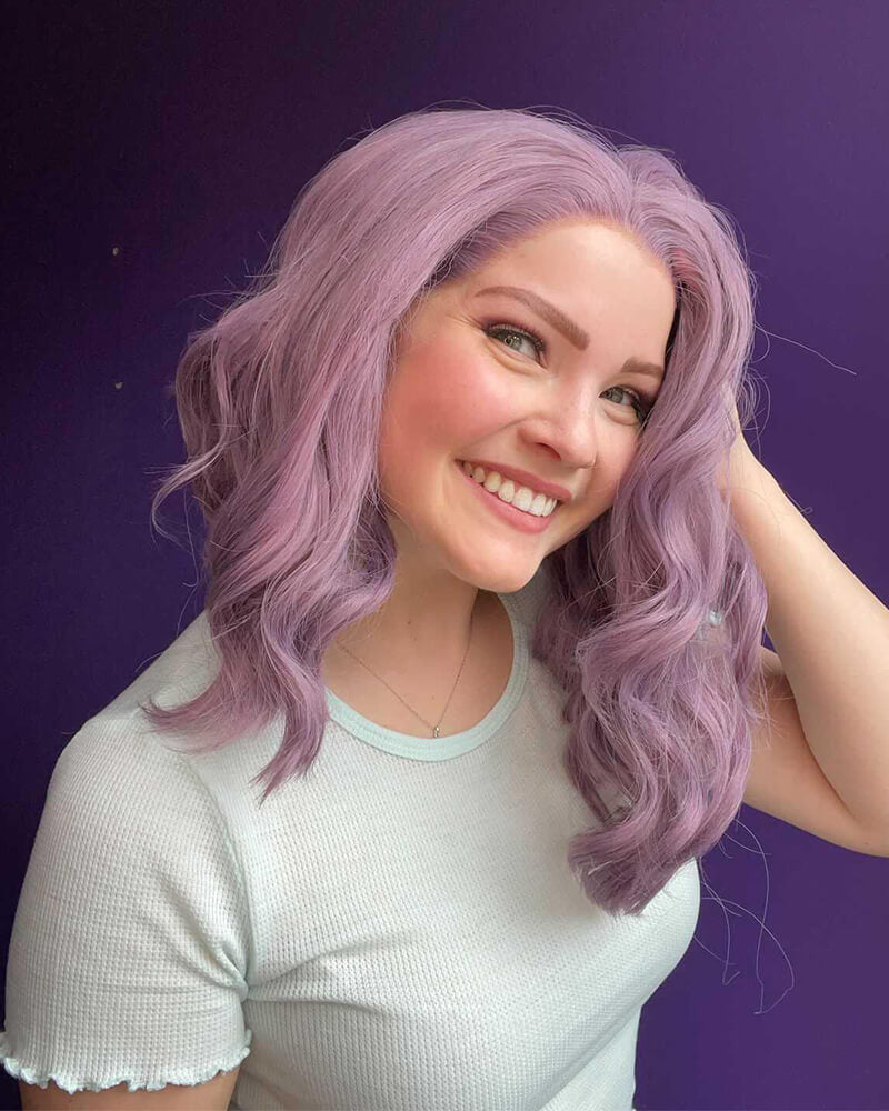 Purple Lavender Synthetic Lace Front Wig WT031