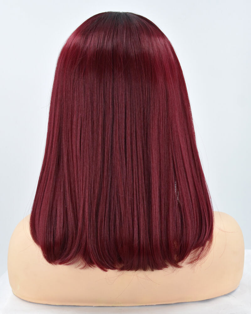 Wine Red Short Synthetic Lace Front Wig WW228