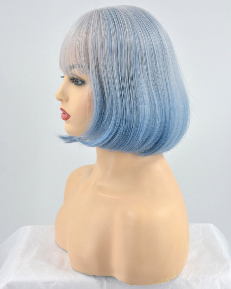 Grey Ombre Blue Synthetic Lace Front Wig WW057