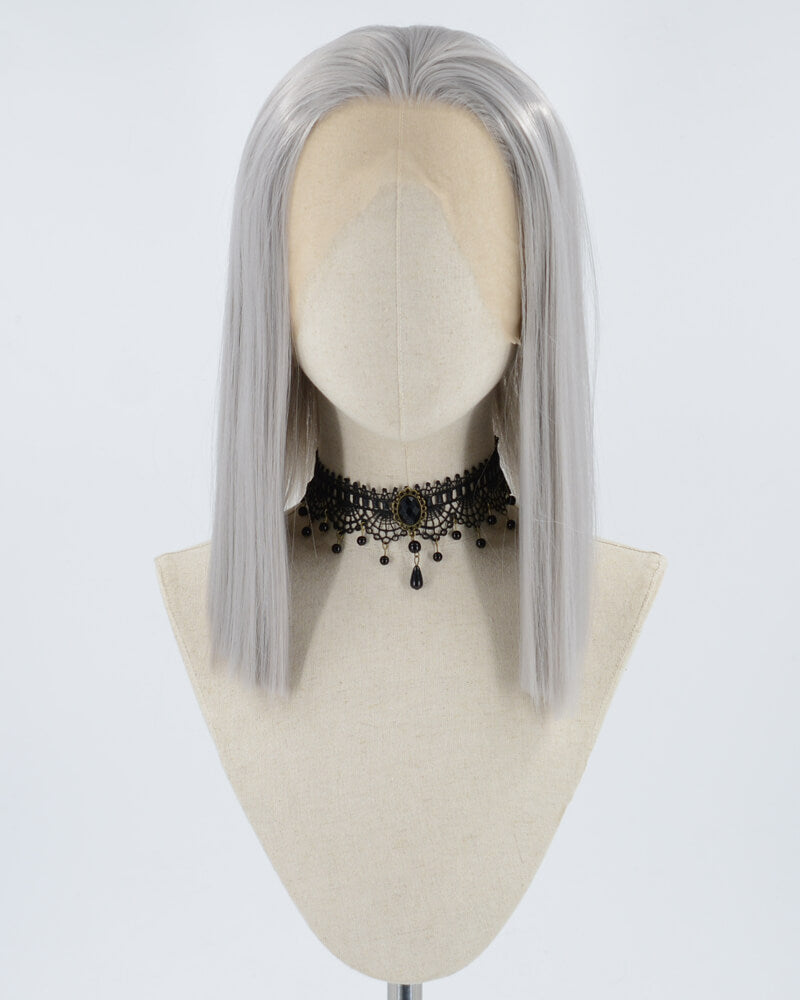 Silver Grey Synthetic Lace Front Wig WW068