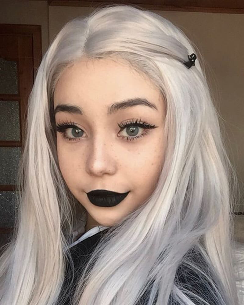 Straight Long Gray Synthetic Lace Front Wigs WT005
