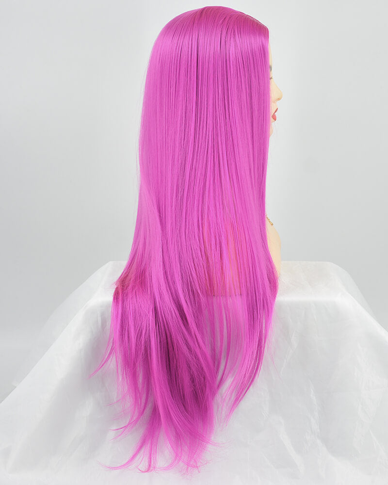 Hot Pink Wefted Cap Synthetic Wig HH001