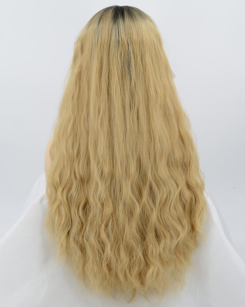 Ombre Blonde Curly Synthetic Lace Front Wig WT189