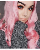 Pink Wavy Synthetic Lace Front Wig WW013