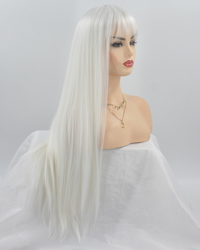 White Wefted Cap Synthetic Wig With Bangs HH015