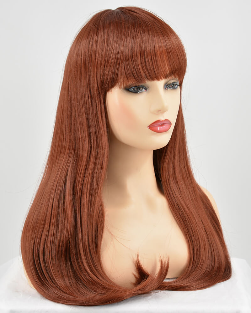 Straight Cooper Red Wefted Wig With Bangs HW051