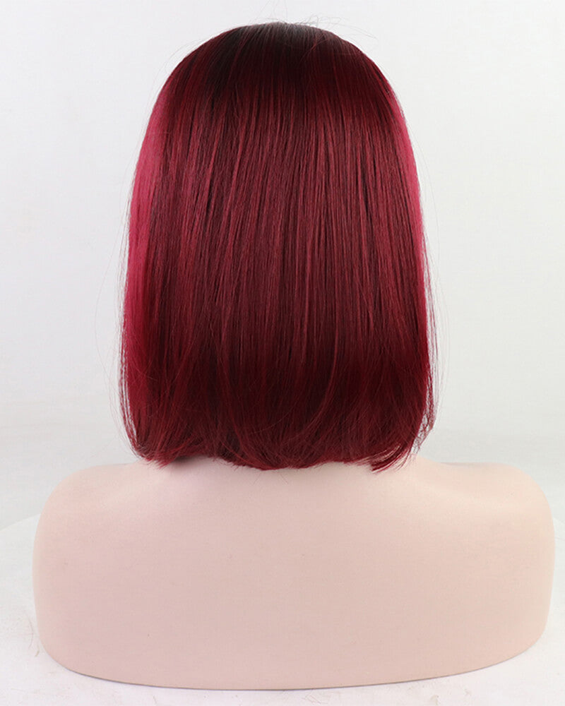 Wine Red Short Synthetic Lace Front Wig WW074