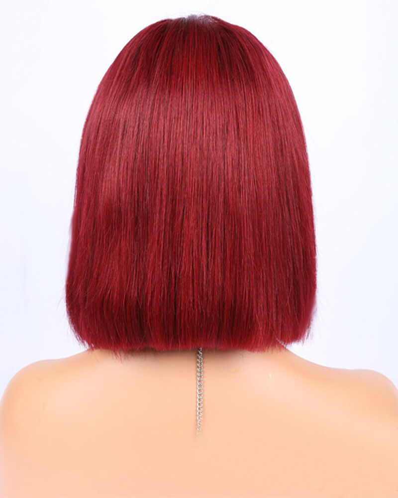 Wine Red Short Human Hair Wig HT020