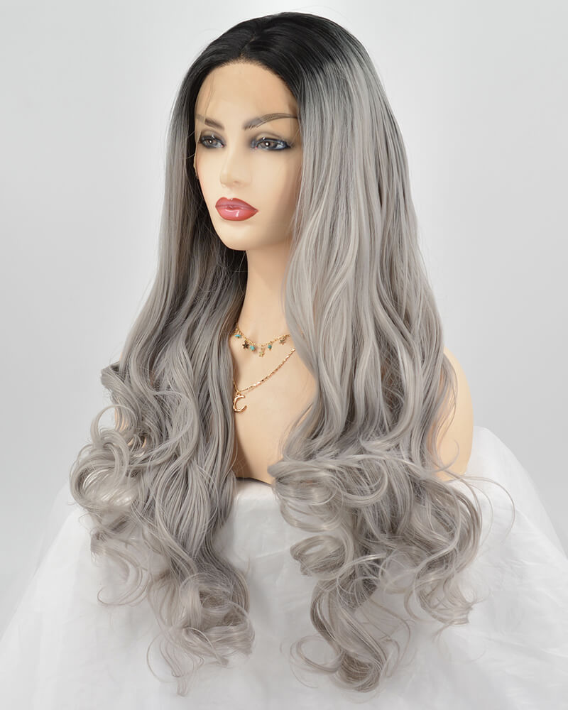 Ombre Gray Long Wavy Synthetic Lace Front Wig WT024
