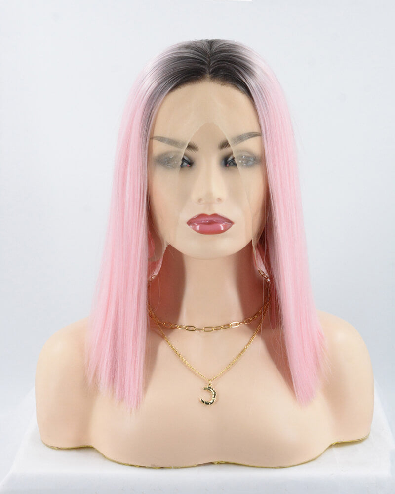 Short Pink Synthetic Lace Front Wig WT083