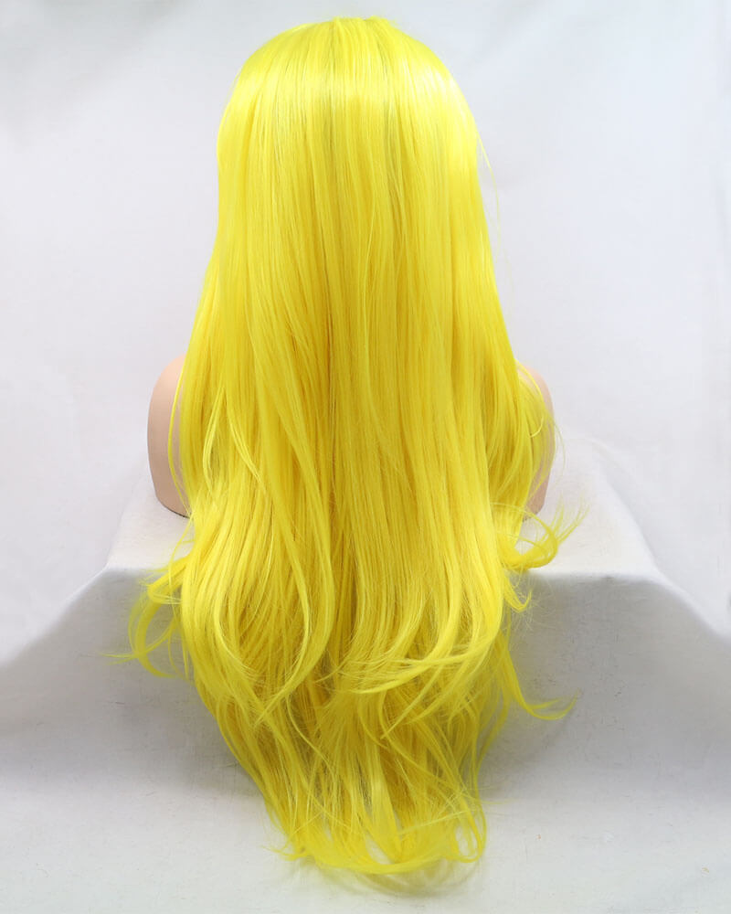 Yellow Straight Long Synthetic Lace Front Wig WW010