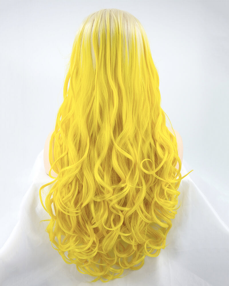 Ombre Yellow Synthetic Lace Front Wig WW179