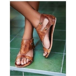 Gladiator Sandals for Women Summer Flat Leather Shoes