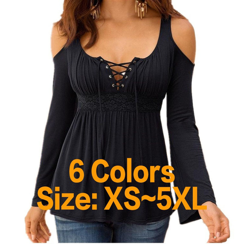Women's Strappy V-neck Cold Shoulder Long Sleeve Casual T-shirt 6 Colors Plus Size XS-5XL