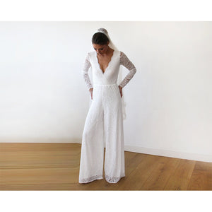 Ivory Long Sleeves Wedding Lace Jumpsuit 1169