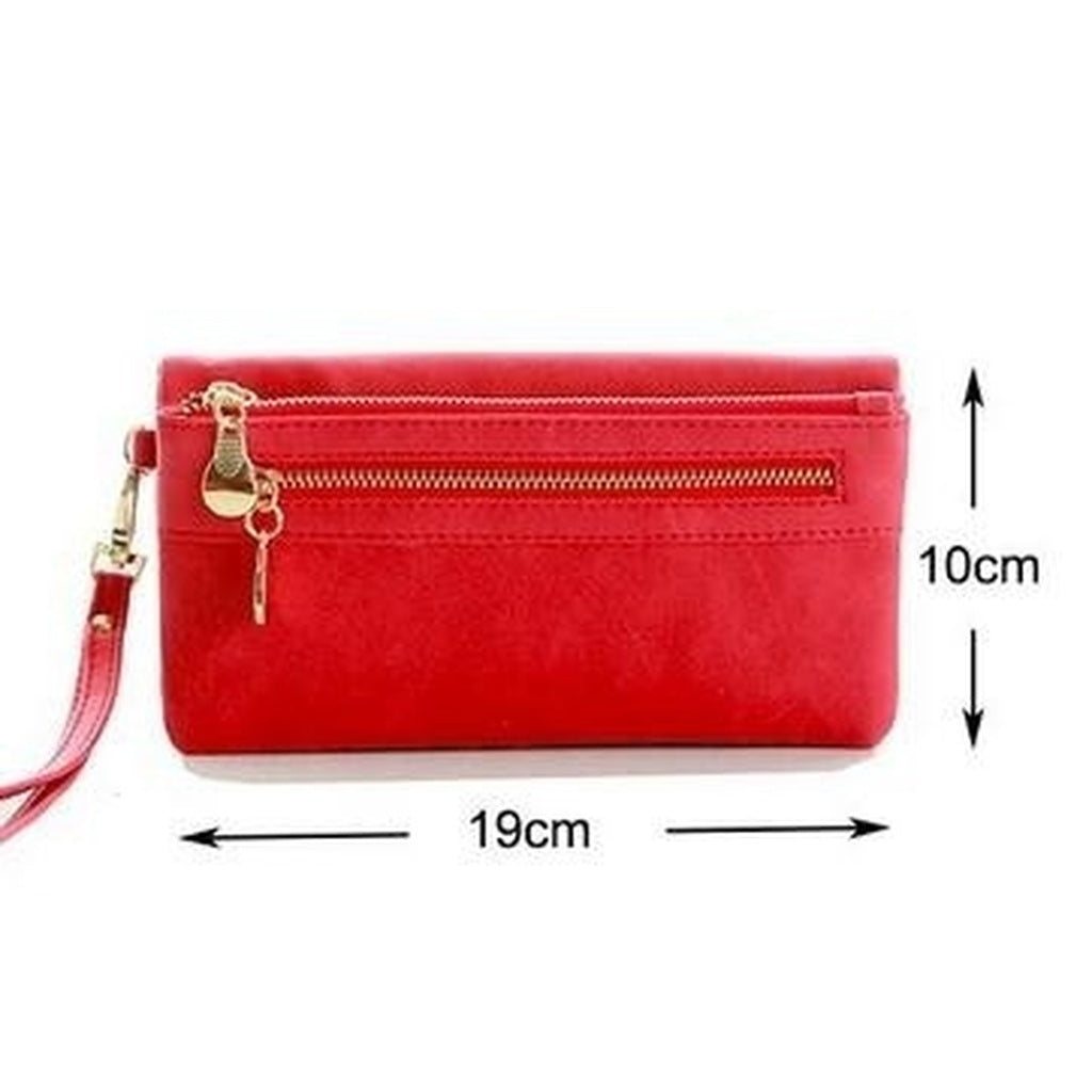 Women Dull Polish Leather Wallet Double Zipper Day Clutch Purse