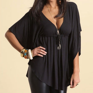 Fashion Sexy Women Stylish Sexy Casual Loose V-neck Batwing Sleeve Tops Blouses Tee
