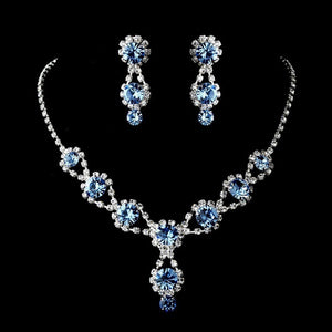 Handmade Rhinestone Clear Crystal Tear Drop Earrings Elegant Earrings & Necklace Set